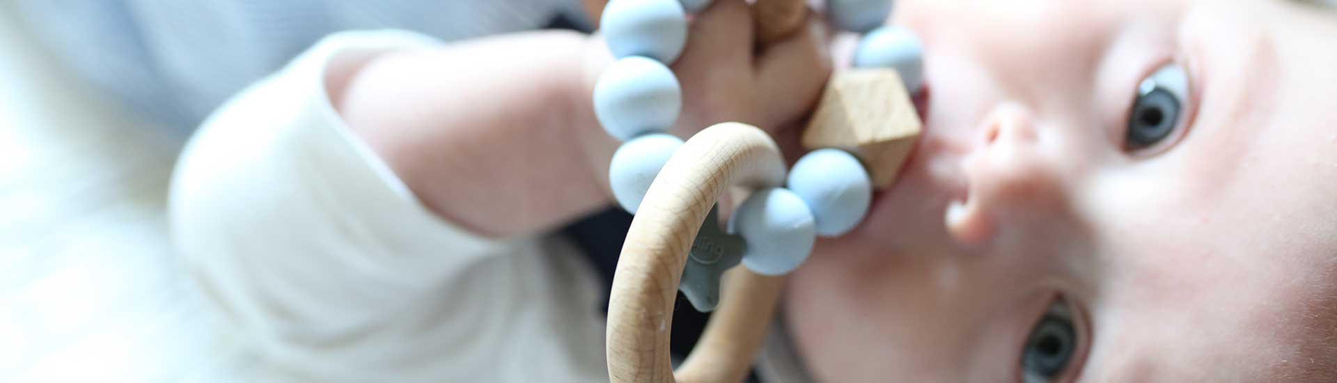 Natural Wood Teething Rattle Toy